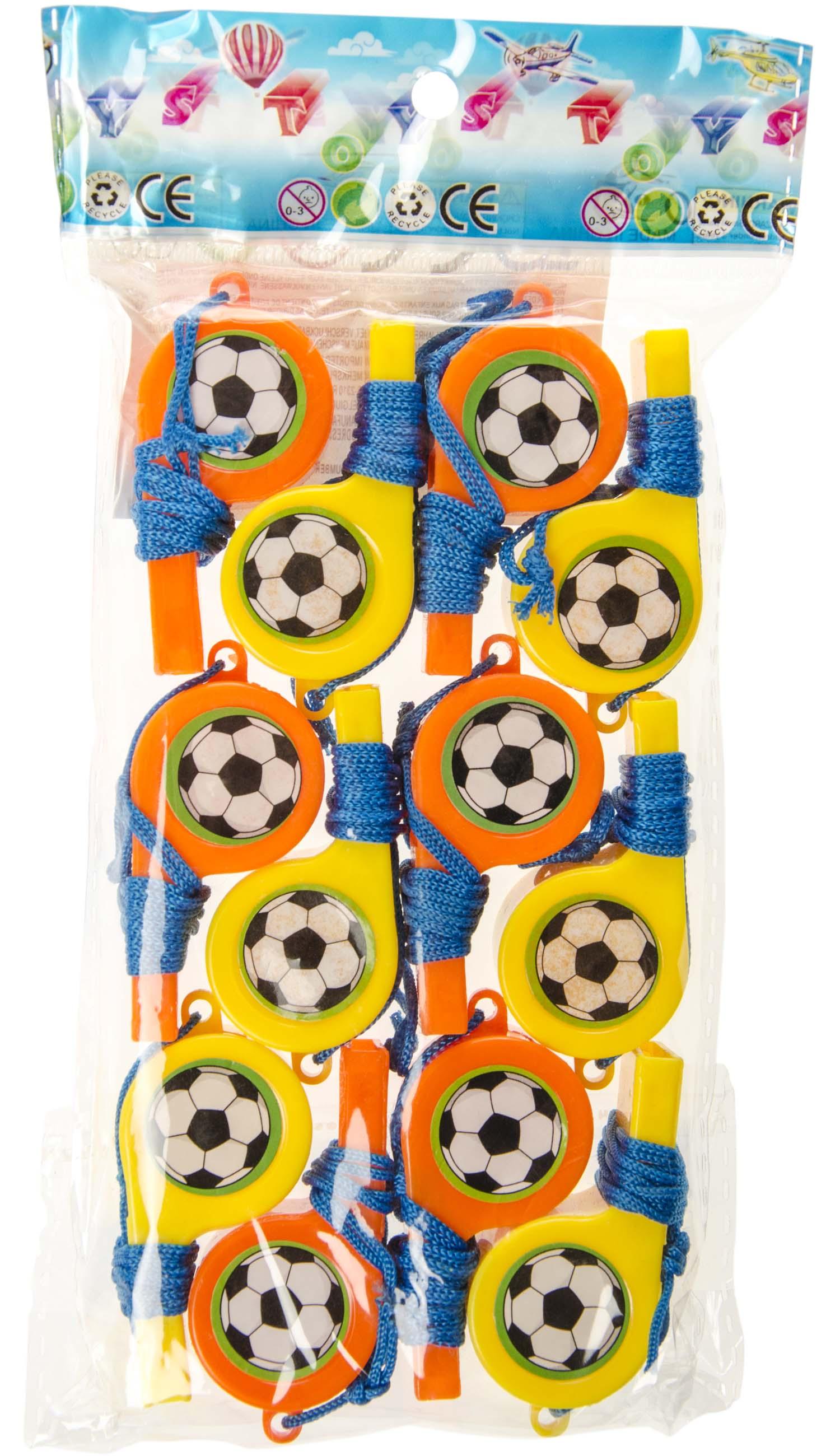 beidseitig Fussballsticker 120 Trillerpfeifen orange und gelb mit Umhängeband